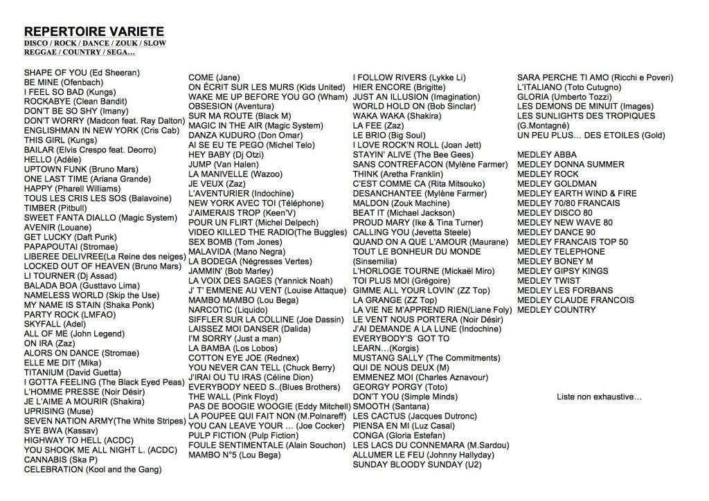 REPERTOIRE ORCHESTRE variété format A5  2017