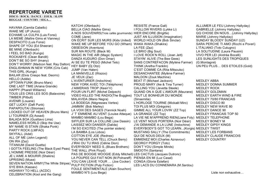 REPERTOIRE ORCHESTRE variété format A5 pour site  2018