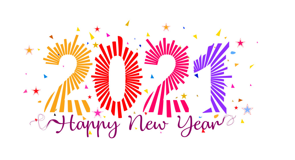 2021 Happy New Year, text lettering calligraphy with colorful modern abstract Design, fun, retro style, template, typography, poster, banner or greeting card for celebration and happy new year